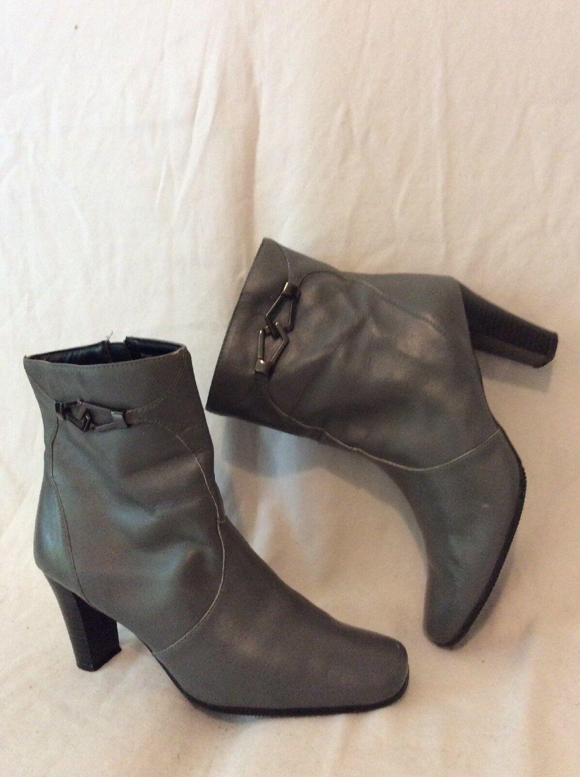 Markon Grey Ankle Leather Boots Size 6Uk