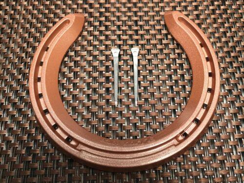 HORSESHOE REAL  ALUMINIUM RACEHORSE HORSESHOE with 2 HORSESHOE NAILS