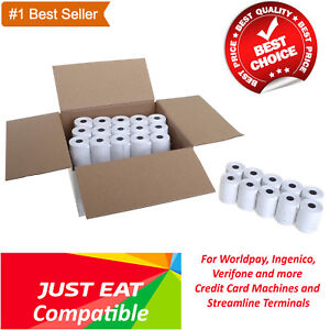 Details About Just Eat Compatible 57x40mm Machine Till Credit Cardpdq Thermal Paper Rolls
