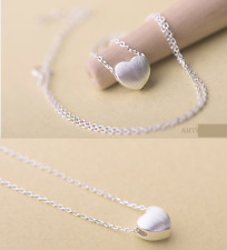 925 Sterling Silver Simple Brushed Heart Pendant Chain Necklace Party Gift Box