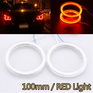 2x LED Car Motorcycle Angel Eyes Halo Ring Bulb Light COB 12V-24V DC 100mm Red