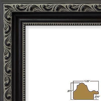 """Craig Frames Amcien Ornate, 1.25"""" Antique Black Picture Frame"""
