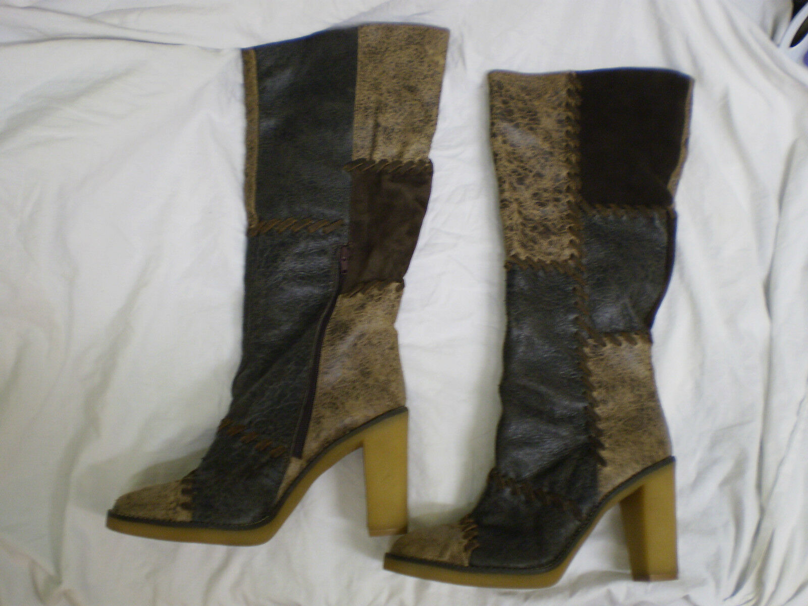 FAITH Brown Suede Leather Winter Womens Knee High Brighton Essex Boots Size