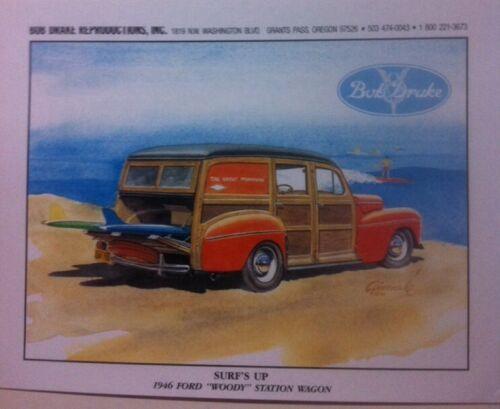 "/""surf/'s up/"" 1946 Woody Illustration 8x10 Reprint Garage Decor"