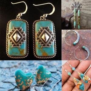 Aros-Dangle-Ear-Stud-Plata-925-Pendientes-de-gancho-color-turquesa-Joyas