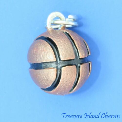 BROWN ENAMEL BASKETBALL 3D .925 Sterling Silver Traditional Charm Pendant BALL