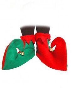 Verde Y Rojo bufón Elf Botas Zapatos Navidad Navidad Fancy Dress Costume millones de EUR  </span>