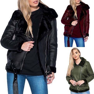 Womens Faux Leather Aviator Faux Fur Lined Belted