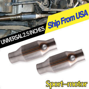Two-Universal-Spun-2-5-034-High-Flow-ECO-II-Catalytic-Converter-425250-EPA-Approved