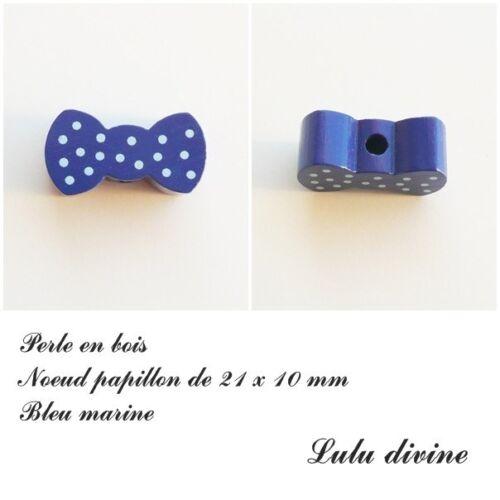 Perle en bois de 21 x 10 mm Bleu marine Perle plate Noeud papillon