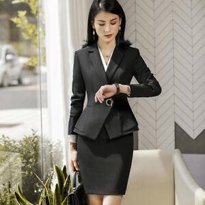 76033cb593467b Caricamento dell'immagine in corso Tailleur-completo-donna-nero-giacca-a- manica-lunga-
