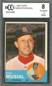Stan-Musial-Card-1963-Topps-250-St-Louis-Cardinals-BGS-BCCG-8