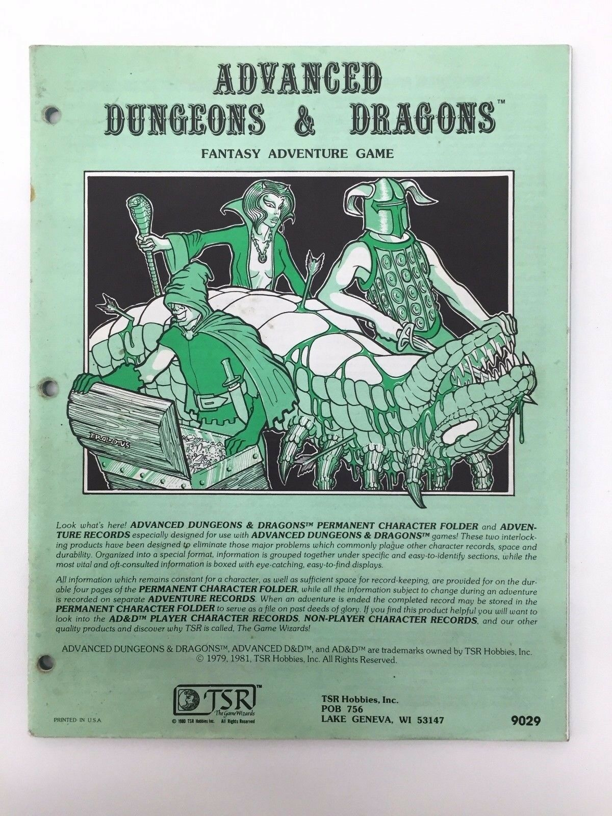 TSR ADVANCED DUNGEONS & DRAGONS PERMANENT CHARACTER RECORD COMPLETE 9029 1981