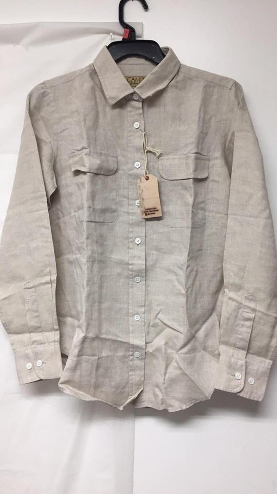 CAMIXA Woherren Linen Button-Down Two Pockets Shirt Go Casual Cool-XS-Natural