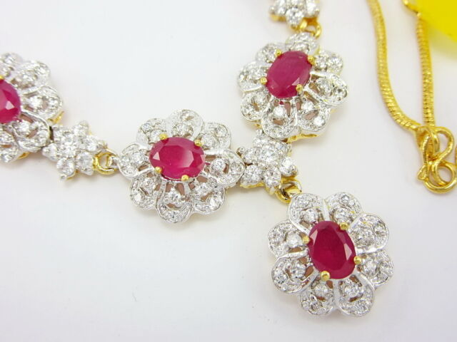 "STUNNING RUBY COLOR CZ THAI NECKLACE 17"" 22K 24K Gold GP women Jewelry GT30"