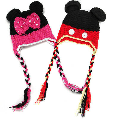 Baby Boys Girls Mickey Minnie Beanie Crochet Knit Hat Winter Warm Cap Photo Prop