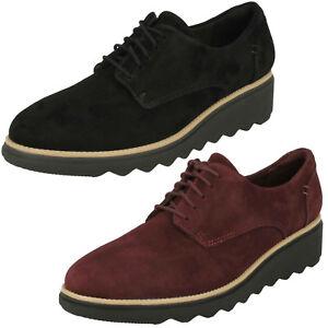 Damen Clarks Sharon Noel Nubuk Leder Freizeit Schnürschuhe D Einbau Women's Shoes Comfort Shoes