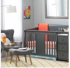 Image is loading Baby-Crib-Changing-Table-Set-Gray-Infant-Nursery- & Baby Crib Changing Table Set Gray Infant Nursery Furniture Wood ...