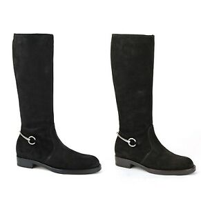 fdda751587a6d New Authentic GUCCI Suede Flat Tall Knee Boots w Metal Horsebit ...