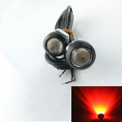 2X 9W Red LED Bolt On Screw Eagle Eye Backup Light Fog Driving Lamp Car Motor
