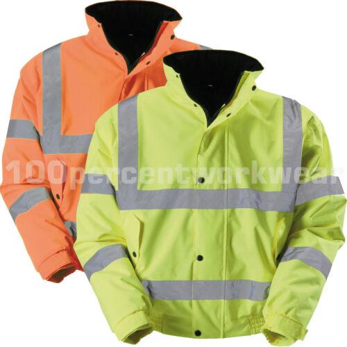 Blackrock Hi Viz Vis Yellow Orange Bomber Jacket Coat Quilt Lined Work Safety