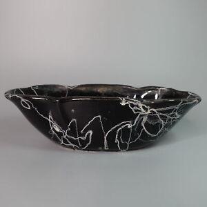 Vintage Art Pottery Black White Splatter Planter Ceramic MCM Atomic Eames Era