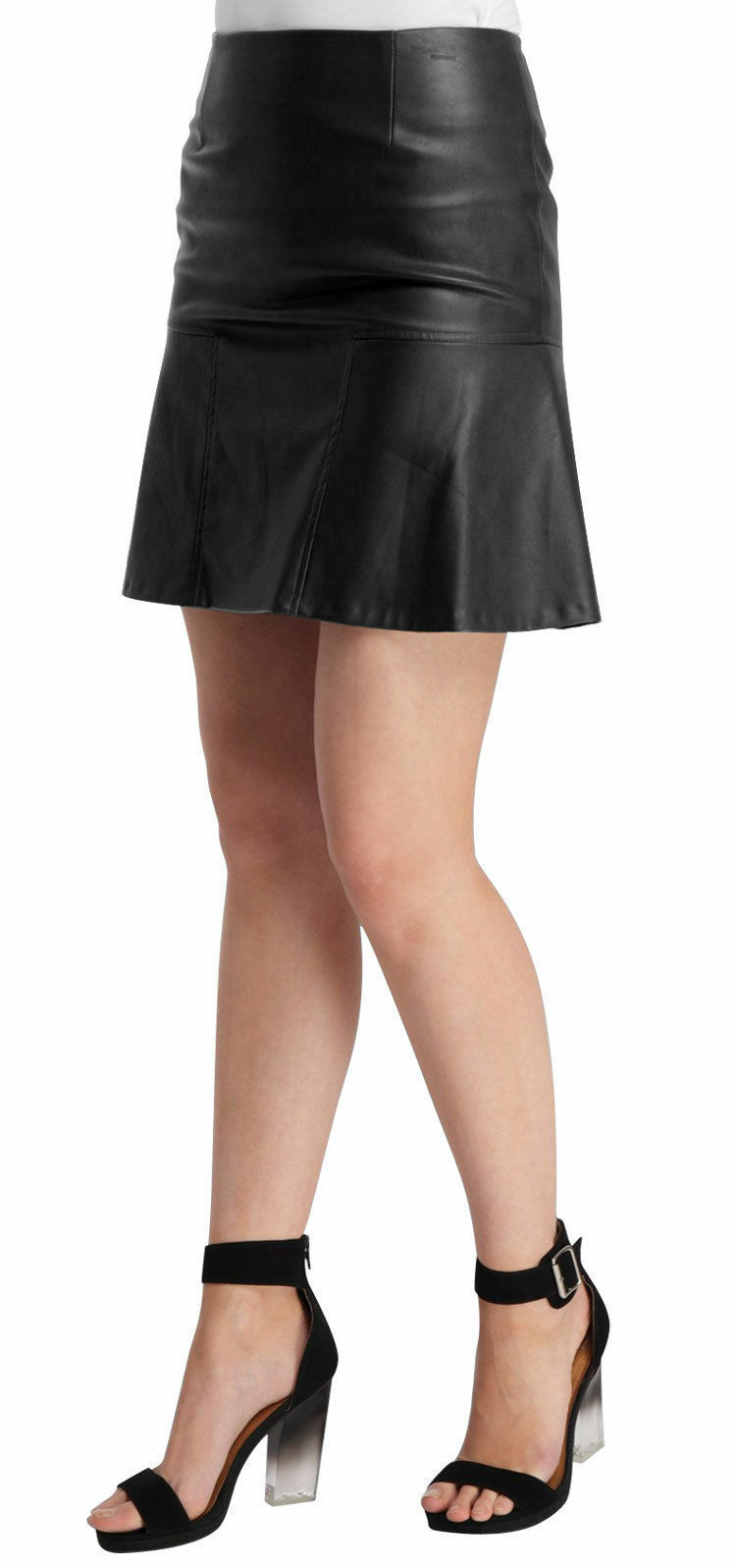 Women's Genuine Leather Skirts Girls Club Party Wear Hot Micro Mini Flippy Skirt