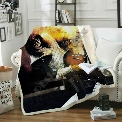 Band KISS Rock Roll 3D Print Sherpa Blanket Sofa Couch Quilt Cover Throw Fleece