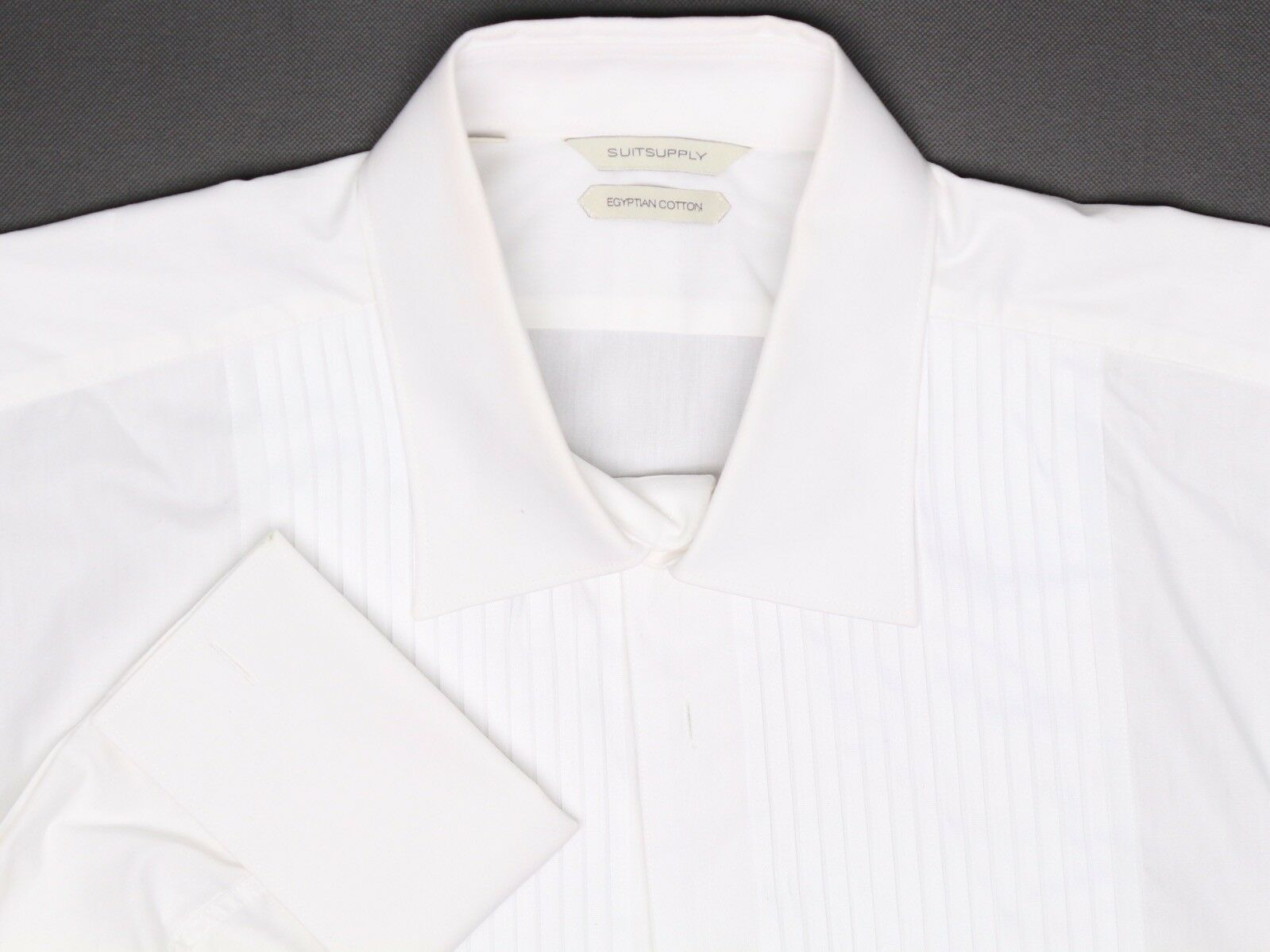 SuitSupply Mens Tuxedo Shirt 18 36 37 Solid White Pleated French Cuff Collar