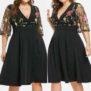 Fashion-Women-Fashion-Floral-Short-Sleeve-Plus-Size-Solid-Applique-V-Neck-Dress