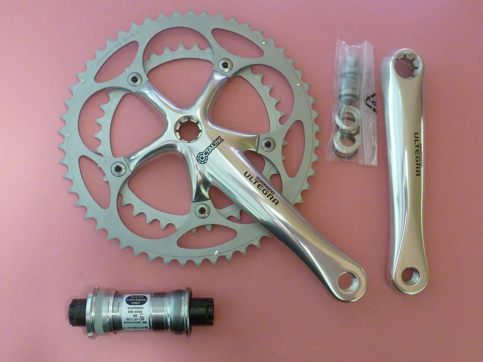 Shimano 6500   9 Sp. Ultegra  bicycle chainset 170 39.52   55 68-109 bb set  NOS
