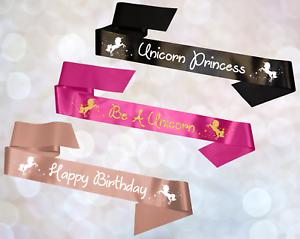 Personalised Unicorn Star Satin Rhinestone Birthday Hen Party Sash