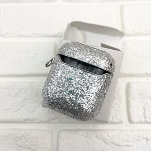 For Airpods Pro/3 1/2 Silver Glitter Keychain Charing Hard Case Protective Cover