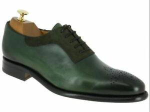 mens handmade shoes green suede  leather lace up style