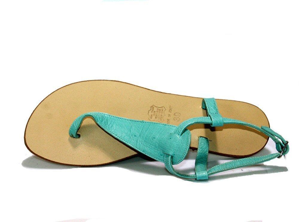 Positano 100% hecho en italyi exclusiva Luz Azul Sandalias de cuero de avestruz Pisos