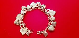 NEW-VINTAGE-STERLING-SILVER-17-HEART-CHARM-BRACELET-PUFFY-CUT-STIPPLED-7-034