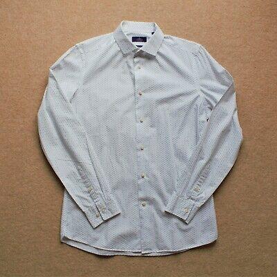 """Next Bianco Con Motivo Slim Fit Camicia Top (15"""")-mostra Il Titolo Originale"""