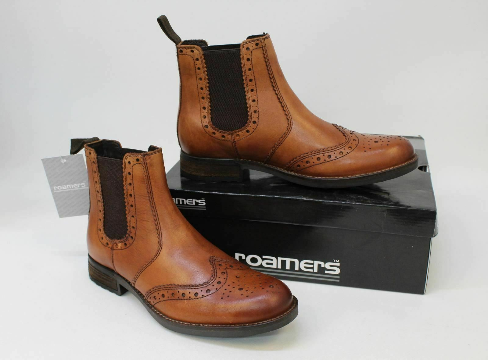 ROAMERS Men's Tan Leather Twin Gusset Brogue Ankle Boots UK9 EUR43.5 NEW