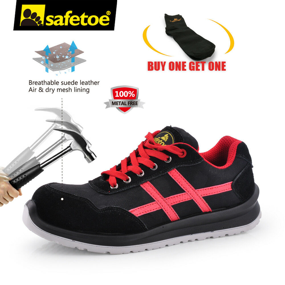Zapatos Seguridad Trabajo para Hombre Deportes Safetoe peso ligero compuesto Puntera Rojo Transpirable