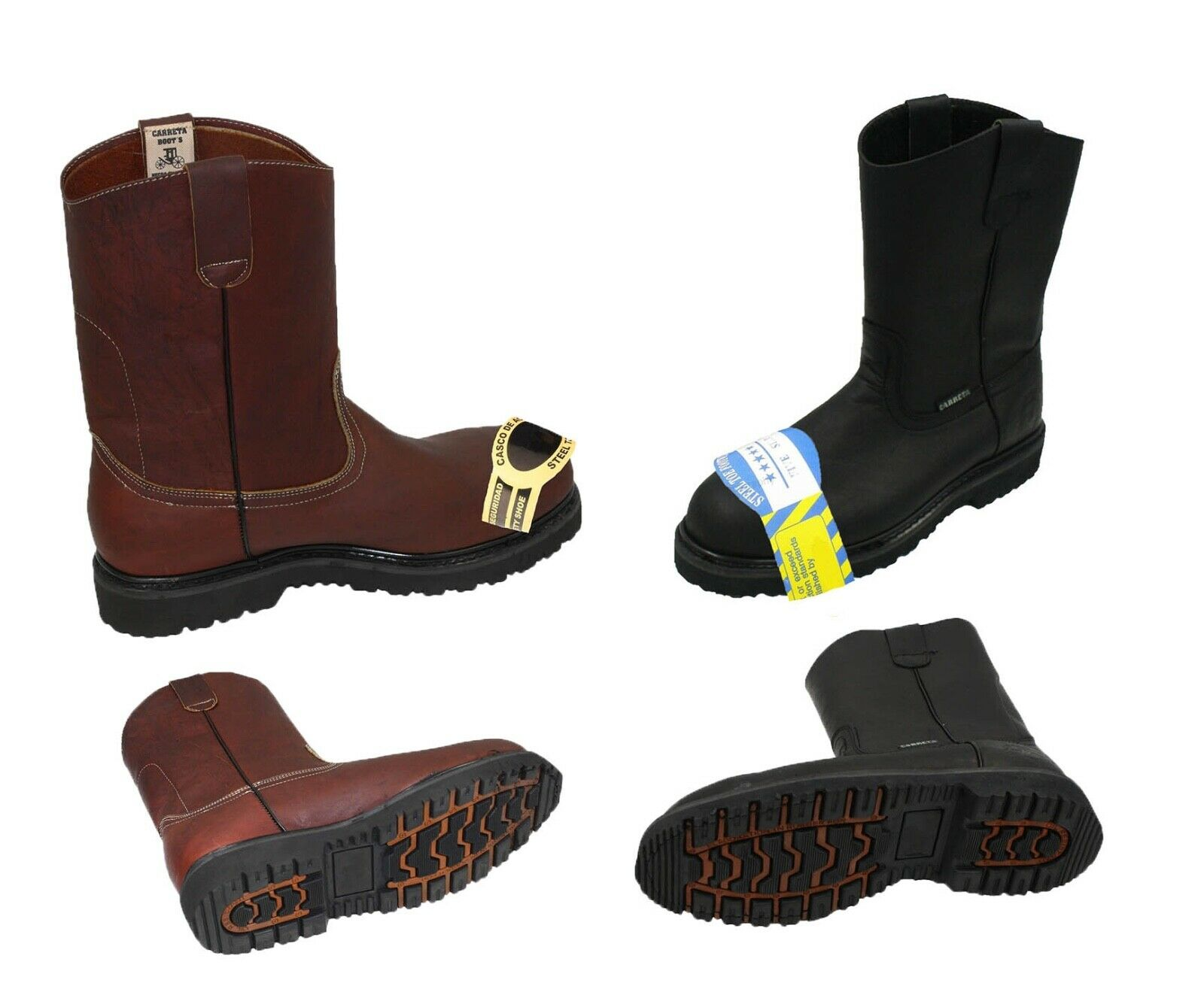 567378856f7 MEN'S STEEL TOE WORK BOOTS PULL ON SAFETY GENUINE LEATHER OIL RESISTANT #410