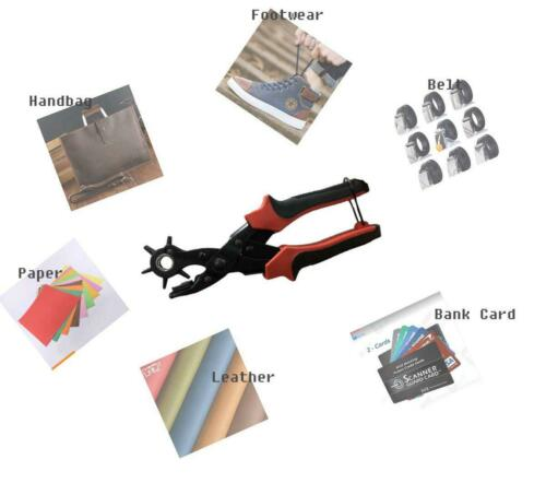 6-round Size Punch Tool Leather Plier Heavy Duty Revolving Belt Hole Puncher Kit