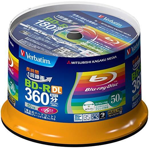 Verbatim Blu-ray Disc 50 pcs Spindle BD-R DL 50GB Printable 6x VBR260RP50SV1 Jp