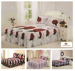 3D-Effect-Quilted-Fitted-Bedspread-With-A-21-034-Frill-amp-2-Pillow-Shams-4-Designs
