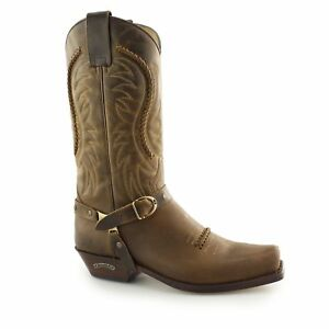 d55de065a51 Details about Sendra 3434 Mens Leather Pull Loop Buckle Mid Calf Cowboy  Boots Mad Dog Tan New