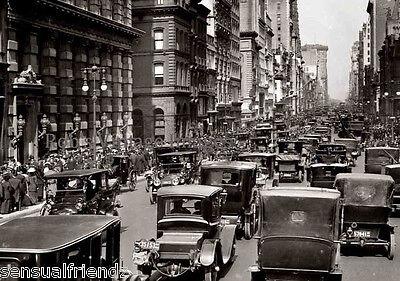 New York City Car Auto Traffic Poster 1916 Vintage photo