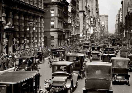New York City Car Auto Traffic Poster 1916 Vintage photo