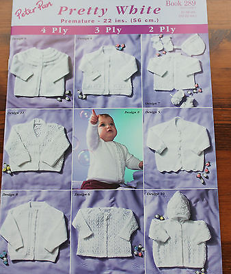 "Peter Pan Pretty White knitting Pattern book 289 2,3 and 4ply 12-22/"" chest."