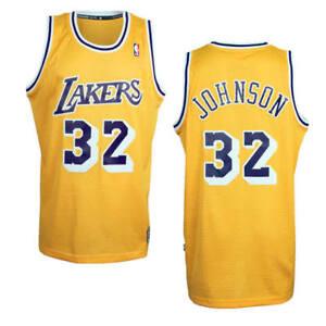 50f88a4d5 Magic Johnson  32 Los Angeles Lakers Adidas NBA Throwback Swingman ...