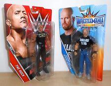 """WWE - The Rock vs """"Stone Cold"""" Steve Austin - Mattel Basics - wrestling figures"""