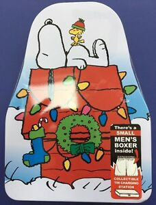 PEANUTS-SNOOPY-amp-CHARLIE-BROWN-SZ-SM-BOXERS-COLLECTIBLE-TIN-CHARGE-STATION-NEW